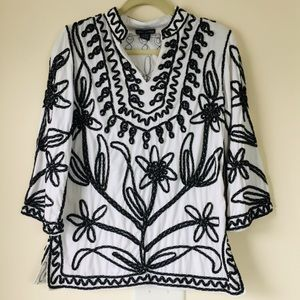 Lauren Michelle Ribbon Embroidered Tunic